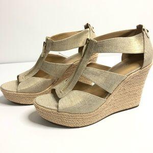 Michael Kors Damita Gold Wedge Canvas Sandals